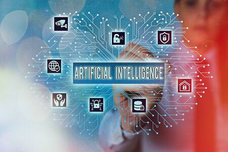 Word writing text Artificial Intelligence. Business photo showcasing programmed to think like and mimic his actions Stock Photo