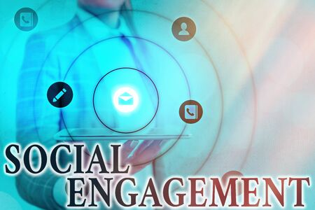 Text sign showing Social Engagement. Business photo showcasing refer to degree of participation in a community or society Information digital technology network connection infographic elements icon