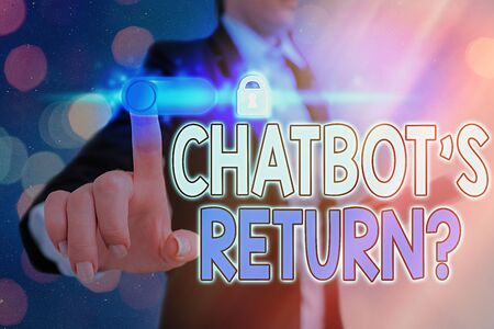 Conceptual hand writing showing Chatbot s is Return Question. Concept meaning program that communicate use text interface and AI Graphics padlock for web data security application system