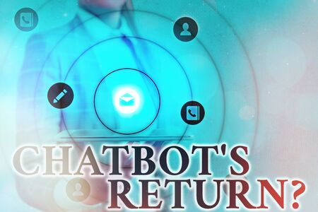 Text sign showing Chatbot s is Return Question. Business photo showcasing program that communicate use text interface and AI Information digital technology network connection infographic elements icon