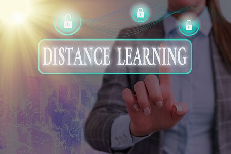 Writing note showing Distance Learning. Business concept for educational lectures broadcasted over the Internet remotely Graphics padlock for web data information security application system