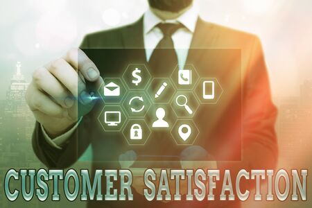 Word writing text Customer Satisfaction. Business photo showcasing number of users whose experience ratings exceed goals Information digital technology network connection infographic elements icon