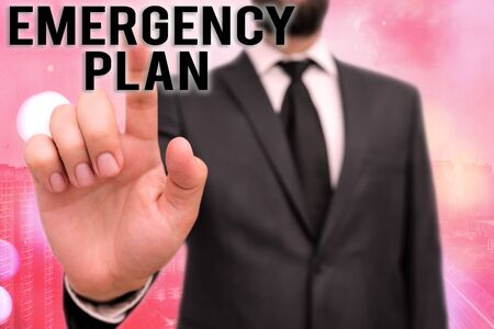 Writing note showing Emergency Plan. Business concept for instructions that outlines what workers should do in danger Touch screen digital marking important details in business