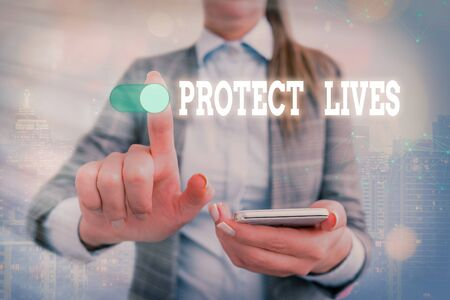 Word writing text Protect Lives. Business photo showcasing to cover or shield from exposure injury damage or destruction Graphics padlock for web data information security application system