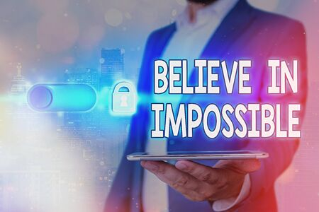 Handwriting text Believe In Impossible. Conceptual photo motivation and inspiration that you can make it happen Banque d'images