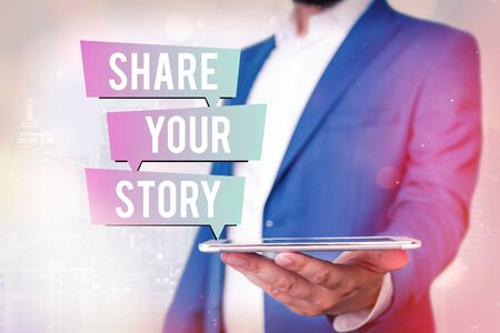 Text sign showing Share Your Story. Business photo showcasing Show your significant life experience and achievement in life Stock fotó