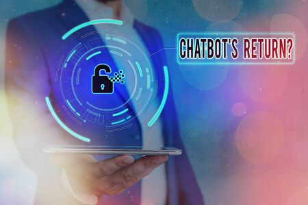 Handwriting text Chatbot s is Return Question. Conceptual photo program that communicate use text interface and AI Graphics padlock for web data information security application system