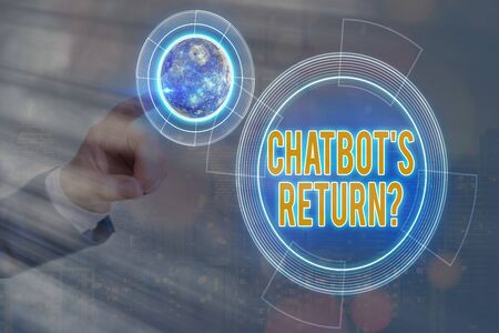 Conceptual hand writing showing Chatbot s is Return Question. Concept meaning program that communicate use text interface and AI Solar system image.
