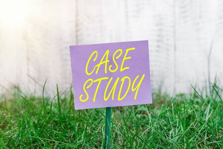 Writing note showing Case Study. Business concept for indepth examination method focusing on a single individual Plain paper attached to stick and placed in the grassy land