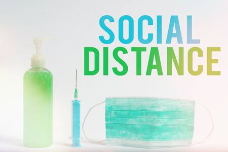 Conceptual hand writing showing Social Distance. Concept meaning maintaining a high interval physical distance for public health safety Primary medical precautionary equipments health protection