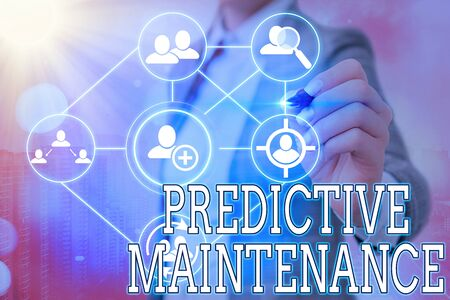 Writing note showing Predictive Maintenance. Business concept for designed to help determine the condition of equipment