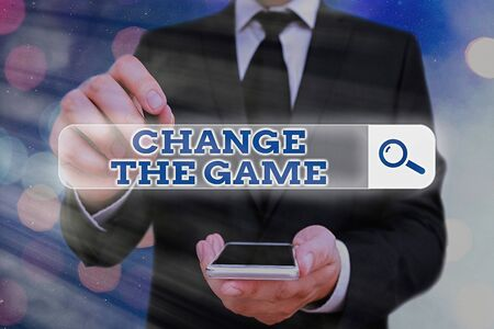 Word writing text Change The Game. Business photo showcasing adjustment in coarse strategy planning process etc