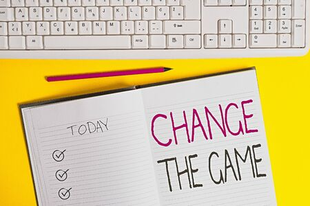 Writing note showing Change The Game. Business concept for adjustment in coarse strategy planning process etc Copy space on notebook above yellow background with keyboard on table