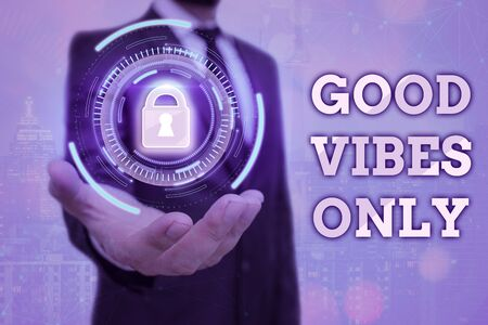 Text sign showing Good Vibes Only. Business photo text a positive way of living and optimism with good effect to other showing Banque d'images