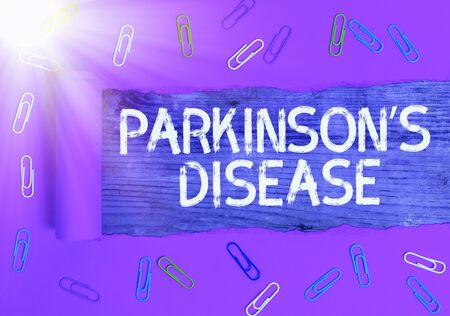 Text sign showing Parkinsons Disease. Business photo text chronic progressive neurological disease of later life