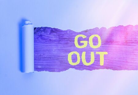 Text sign showing Go Out. Business photo showcasing to spend more time outdoors or in any social event with freedom