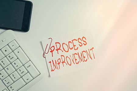 Handwriting text Process Improvement. Conceptual photo task of identifying upon existing business courses White pc keyboard with empty note paper above white background and mobile phone Stock fotó