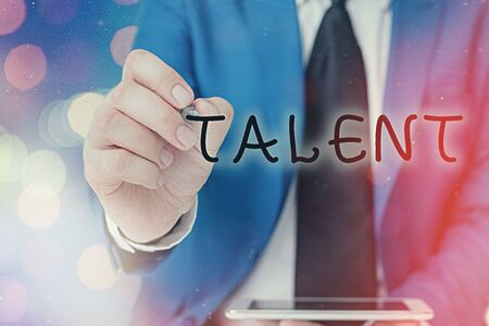 Word writing text Talent. Business photo showcasing skill that someone has very well defined and has mastery to do it