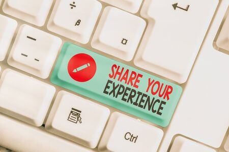 Writing note showing Share Your Experience. Business concept for tell us your story including ideas and feelings run into Stock Photo