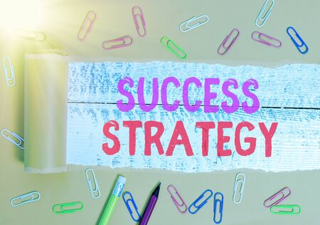 Text sign showing Success Strategy. Business photo text provides guidance the bosses needs to run the company