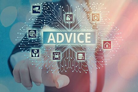 Writing note showing Advice. Business concept for recommendation is given regarding a decision or course of conduct