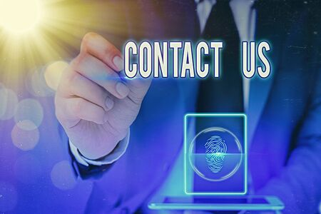 Writing note showing Contact Us. Business concept for contact information provided to assist customers needs