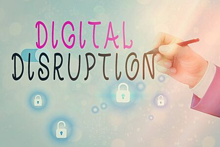 Text sign showing Digital Disruption. Business photo text occur when technologies affect value proposition of goods Imagens