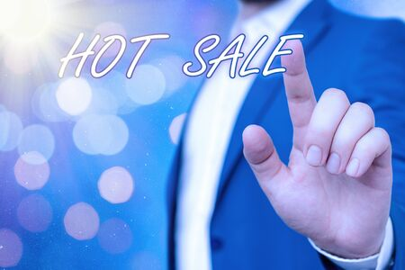 Text sign showing Hot Sale. Business photo showcasing a very good discount of items is displayed over a limited time