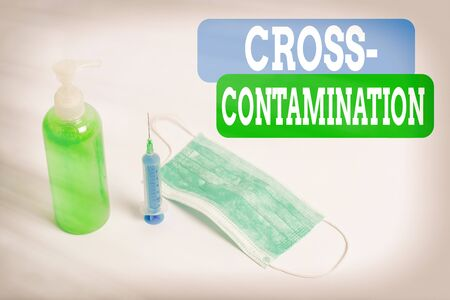 Writing note showing Cross Contamination. Business concept for Unintentional transmission of bacteria from one substance to another Primary medical precautionary equipments for health care protection