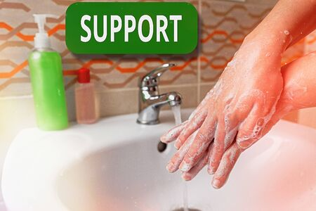 Word writing text Support. Business photo showcasing maintain, sustain, uphold all mean to hold up and to preserve Handwashing procedures for decontamination and minimizing bacterial growth