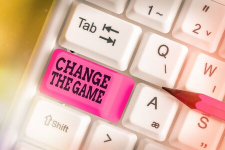 Handwriting text Change The Game. Conceptual photo adjustment in coarse strategy planning process etc