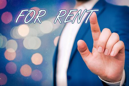Text sign showing For Rent. Business photo showcasing Occupying an establishment currently on a lease paid periodically