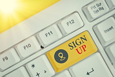 Writing note showing Sign Up. Business concept for site form of creating new account filled by an individualal details Archivio Fotografico