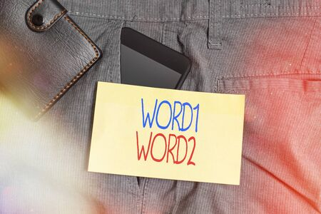 Word writing text Cross Contamination. Business photo showcasing Unintentional transmission of bacteria from one substance to another Smartphone device inside trousers front pocket with wallet and note paper Stok Fotoğraf