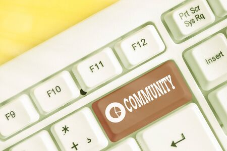 Word writing text Community. Business photo showcasing group of showing with a common characteristics living together White pc keyboard with empty note paper above white key copy space Banque d'images