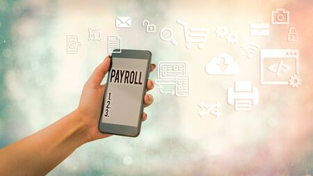 Handwriting text Payroll. Conceptual photo total of all compensation business must pay to its employees Imagens