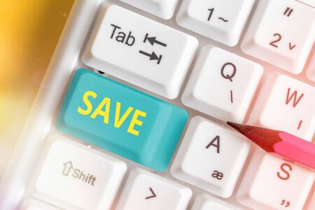 Writing note showing Save. Business concept for to rescue from danger or helping for possible harm injury or loss Stok Fotoğraf