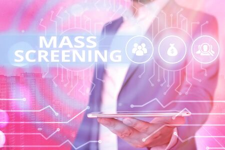 Text sign showing Mass Screening. Business photo showcasing health evaluation performed at a large amount of population System administrator control, gear configuration settings tools concept 版權商用圖片