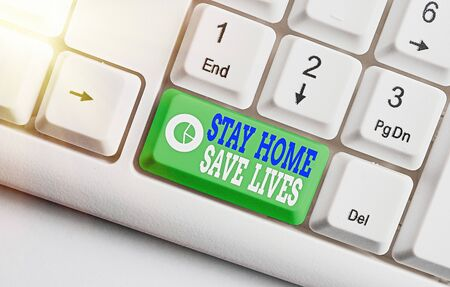 Handwriting text Stay Home Save Lives. Conceptual photo lessen the number of infected patients by not leaving the house White pc keyboard with empty note paper above white key copy space