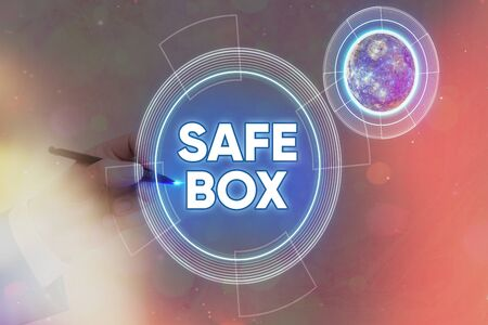 Conceptual hand writing showing Safe Box. Concept meaning a metal deposit locker where valuable documents are being stored 免版税图像 - 149882334