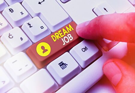 Conceptual hand writing showing Dream Job. Concept meaning the professional career that an individual is working hard to earn it