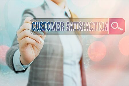 Writing note showing Customer Satisfaction. Business concept for number of users whose experience ratings exceed goals Web search digital information futuristic technology network connection