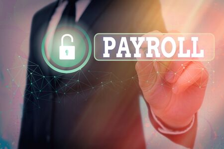 Text sign showing Payroll. Business photo showcasing total of all compensation business must pay to its employees