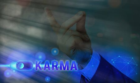 Text sign showing Karma. Business photo showcasing sum of an individual actions in this and previous states of existence