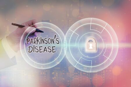 Text sign showing Parkinsons Disease. Business photo showcasing chronic progressive neurological disease of later life