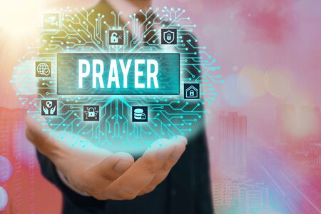 Conceptual hand writing showing Prayer. Concept meaning solemn request for help or expression of thanks addressed to God System administrator control, gear configuration settings
