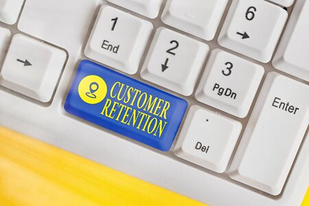 Writing note showing Customer Retention. Business concept for activities companies take to reduce user defections