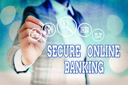 Word writing text Secure Online Banking. Business photo showcasing protect digital bank for internet transactions