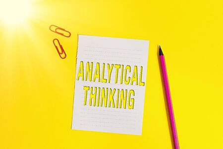 Conceptual hand writing showing Analytical Thinking. Concept meaning component of visual pondering to solve problems quickly Pile of empty papers with copy space on the table