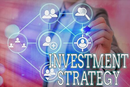 Writing note showing Investment Strategy. Business concept for what guides an investor decision based on goals risk etc